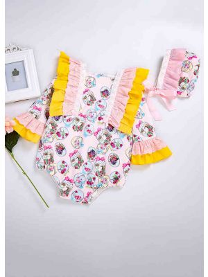 Easter Princess Yellow Floral Printed Babies Romper Costumes + Cute Bonnet