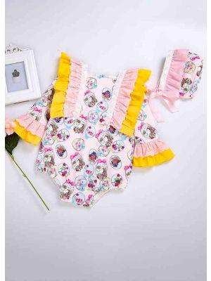 Easter Princess Yellow Floral Printed Babies Romper Costumes + Cute Bonnet