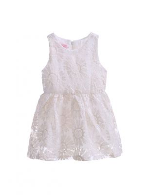 Sunflower Lace Beige Party Kids Dress