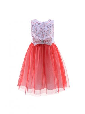 Red And White Flower Girl Party Dress