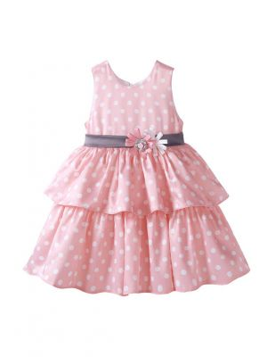 Pink Girls Dot Printed  Princess Dress