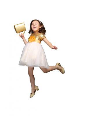 Girls Sequin Floral Belt Princess Dress