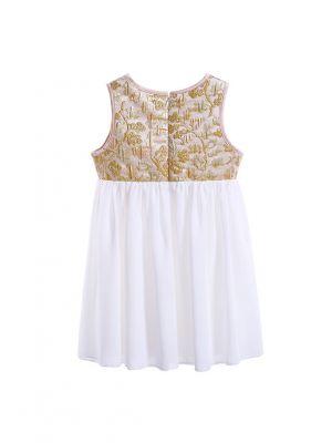 Summer Girls Sleeveless Flower Printed O-neck Dress