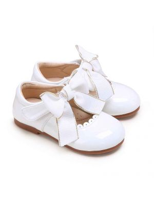 White Microfiber Leather Girls Shoes With Handmade Bow-knot