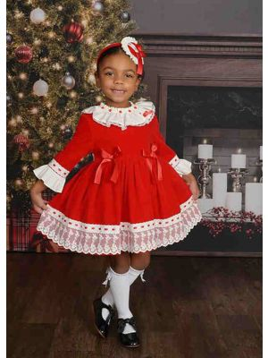 Girls Autumn Red Ruffles Lace Fluffy Princess Party Three Quarter Sleeves Dress With Ribbon Bows + Hand Headband