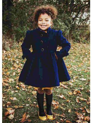 Autumn & Winter Girls Dark Blue Single Breasted Wool Coat + Hand Headband