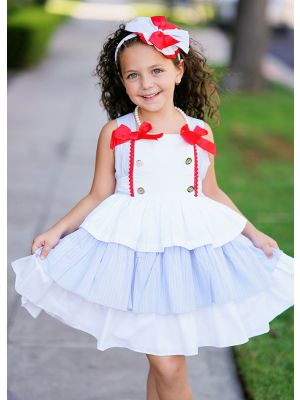 Summer Slubbed Cotton Princess Girls Dress with Double Bows + Handmade Headband