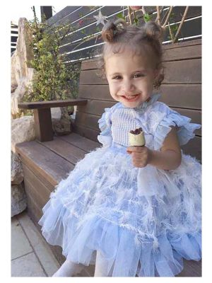 (ONLY 4Y 8Y) Embroidery Lace Chiffon Bows Feather Ornament Girls Blue Dress + Handmade Headband