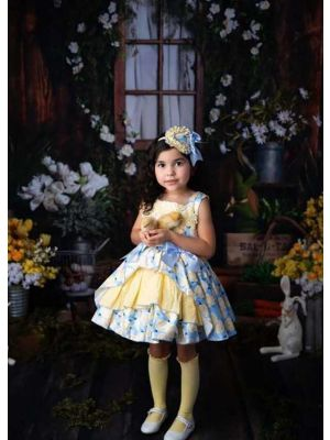 2021 New Arrival Floral Pattern Lace Blue Bows Girls Yellow Dress + Headband