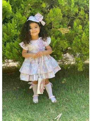 (ONLY 2Y 3Y) Elegant Princess Light Purple Sleeveless Girls Dresses with Flowers
