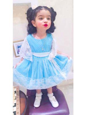 2021 New Summer Blue Dots Flower Lace Sleeveless Girls Dress