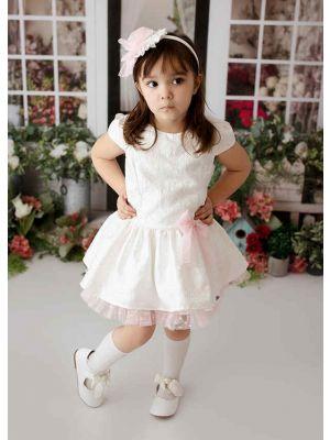 White Girls Summer Sweet Dresses with Pink Chiffon +Pink Chiffon Bows + Headband