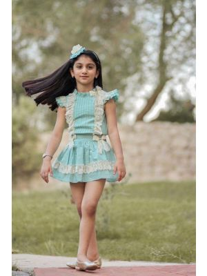 Mint Green Girls Party Dot Clothing Sets