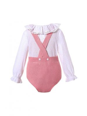 Dark Pink 2 Piece baby Pom Pom Baby Sweater Romper + Long Sleeves Shirt