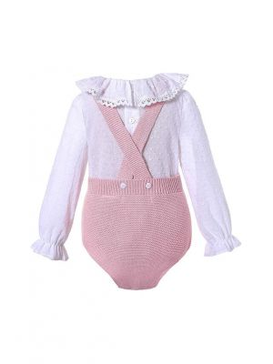 Cute Pink 2 Piece Baby Sweater Romper + England Style Ruffle Shirt