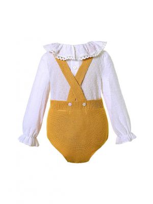 2 Piece Yellow Baby  Pom Pom Romper + Ruffle White Shirt
