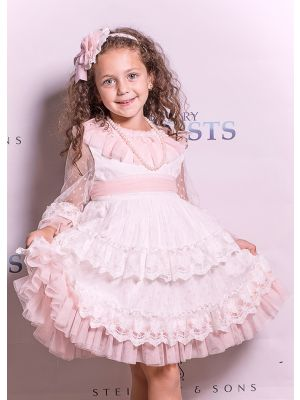 Summer White Communion Girl Wedding Flower Party Ceremony Layers Dress + Handmade Headband
