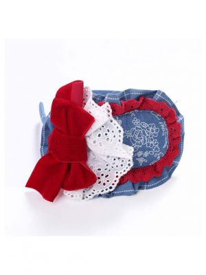 Red Bow White Lace Blue Headband
