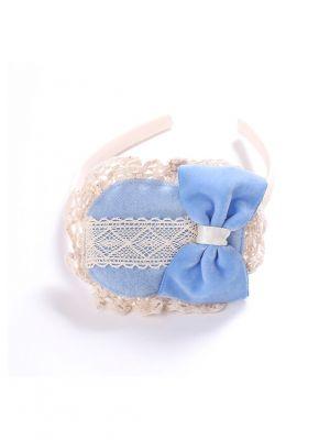 Cute Blue Bow Beige Lace Headband