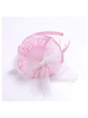 White Chiffon Bow Pink Headband