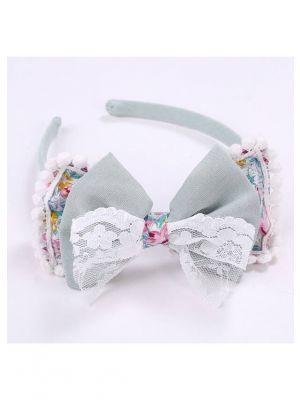 Lace Bow Celadon Headband