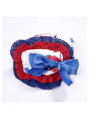 Red Blue White Lace Bow Headband