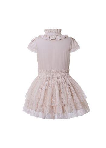 Girls Summer Beige Bow Lace Shirt + England Style Princess Skirt +Hand Headband