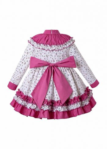 Autumn Girls Flower Print Ruffle Collar Girls Dress + + Hand Headband
