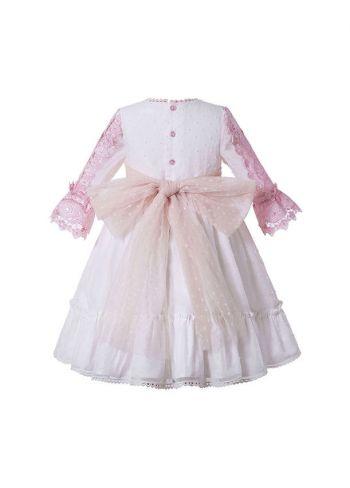 Purple & White Girls Princess Yarn Dyed Pleated Vintage Dress
