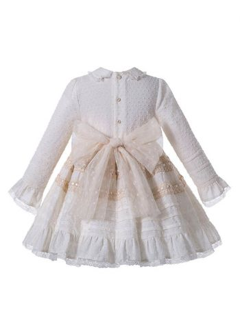 (Pre-sale Products) Elegant Girls Champagne Beige Turn-down Collar Pleat Kids Boutique Dress + Hand Headband