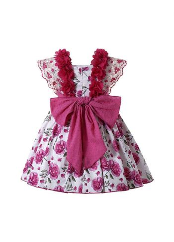 Sundress Rose Red Floral Patterns Lace Bows Ruffle Girls Dress + Handmade Headwear