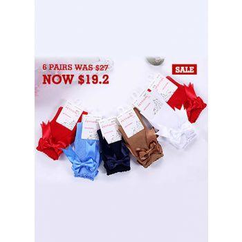 6 Pairs Bow-knot Keen-length Girls Socks