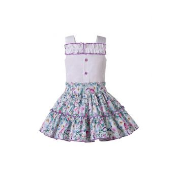 Summer Sweet Girls Ruffle Layers Dress Floral Pattern with purple trim + Headband