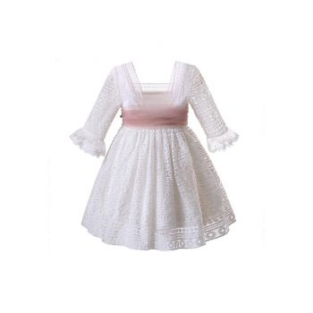 Girls White Mesh Wedding Party Ceremony Boutique Communion Pageant Dress