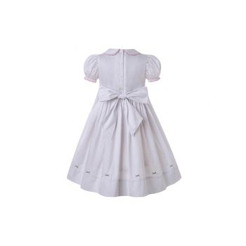 Vintage White Embroidered Ruffled Smoked Dress