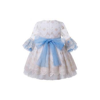 Girls White Vintage Yarn Dyed Spring  Boutique Dress + Hand Headband