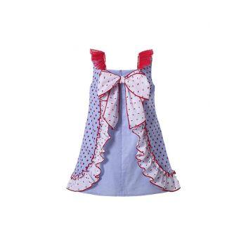 Boutique Girls Garment Dyed Red Dot With Bows Ruffles Summer Dress + Hand Headband