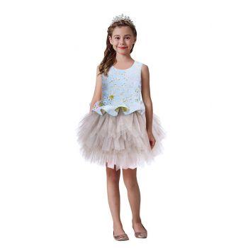 Kids Blue Tops Stylish Princess Tutu Dress