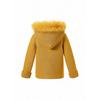 Yellow Single Breasted baby Sweater Coat With Detachable Hat