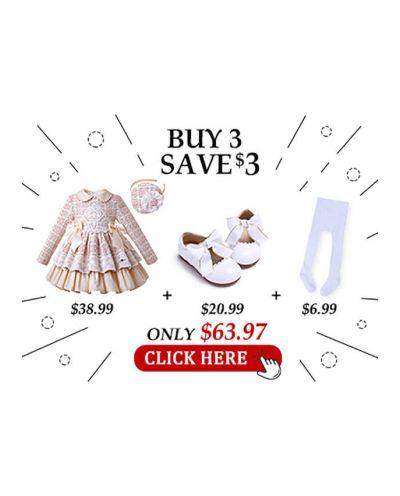 4 pcs Matching Sets - Dress + Headband + Shoes + Socks