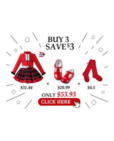 5 pcs Matching Sets - Blouse + Skirt + Headband + Shoes + Socks