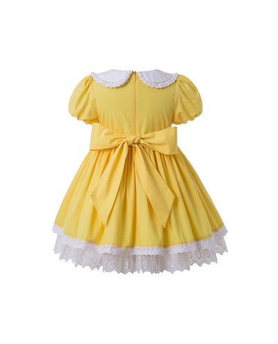 Summer Yellow Yarn Dyed Princess Pleate Girls Vintage Dress + Hand Headband