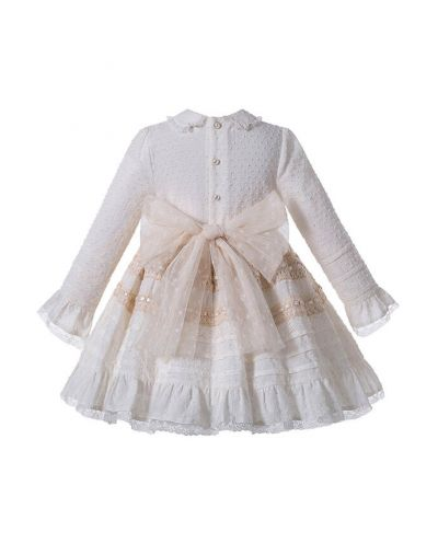 (Pre-sale Products) Elegant Girls Champagne Beige Turn-down Collar Pleat Kids Boutique Dress + Hand Headband